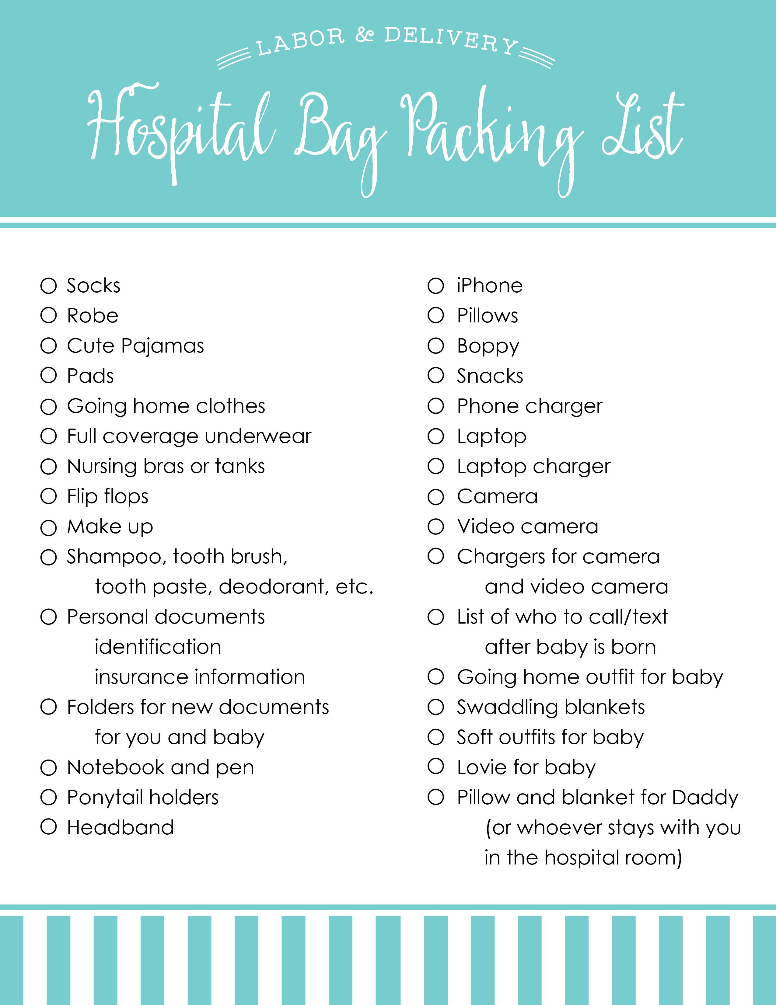 Hospital Bag Ng List
