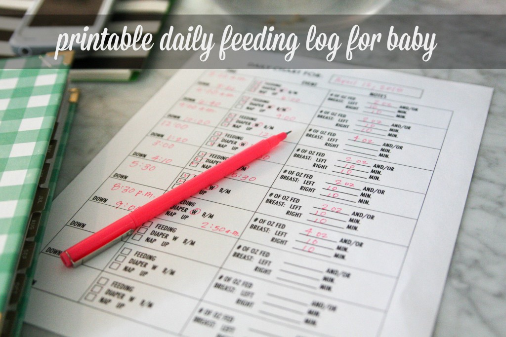 printable daily feeding log for baby